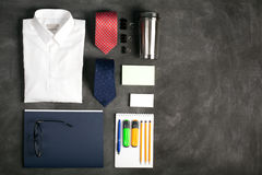 Business objects on the desk, top view Royalty Free Stock Images