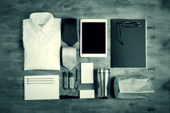 Business objects on the desk, top view Stock Photography