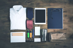 Business objects on the desk, top view, toned Royalty Free Stock Photography