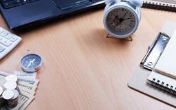 Business objects and money on table in office,image for business royalty free stock photography