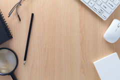 Business objects of pencils,white paper note,keyboard,mouse, and Stock Image