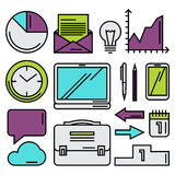 Business objects in simple flat style Stock Photos