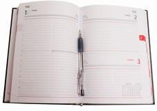 Business Objects - Tagebuch geöffnet mit Raum zu kopieren Stockfotografie