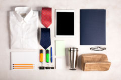 Business objects on the white desk, top view Royalty Free Stock Photography