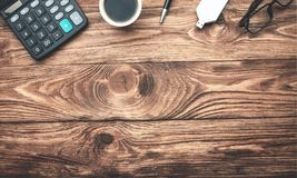 Business objects on wood background. Business concept royalty free stock photos
