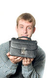 Business offer - man with handbag. Isolated on white Stock Images