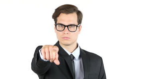Business offer, partnership , businessman pointing at you , camera. High quality Royalty Free Stock Photography