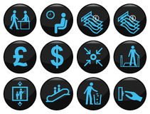Business and office. Related black icon set Stock Illustration