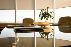 Business office. A view in a conference room. Three documents case on a table Royalty Free Stock Photo