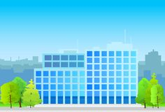 Business office building, real estate silhouette Stock Photo