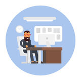 Business office. Businessman at work. Workplace interior. Flat design illustration Stock Images