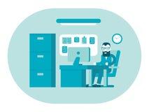 Business office. Businessman at work. Workplace interior. Flat design illustration Stock Image