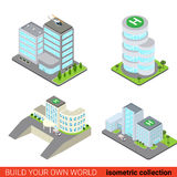 Business office center hospital flat 3d isometric building set. Flat 3d isometric set of business office center block building glass skyscraper hospital Royalty Free Stock Photo
