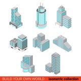 Business office center skyscraper flat 3d isometric building set. Flat 3d isometric set of business office center block building glass skyscraper block Royalty Free Stock Photography