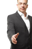 Business office concept - businessman showing shake hand symbol Stock Images