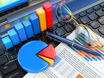 Business office concept. Graph and charts on laptop keyboard. 3d Stock Photo