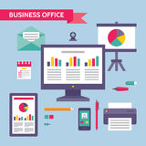 Business Office - Concept Illustration in Flat Design Style Stock Photo