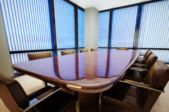 Business office. Conference room with table and leather chairs Royalty Free Stock Images