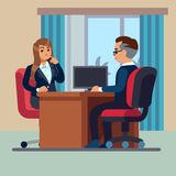 Business office conversation. Sitting businessman consultant and woman meet to interview talking work vector concept. Business office conversation. Sitting vector illustration