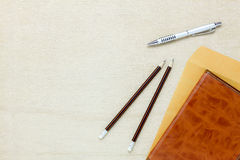 Business office desk background.The pencil pen letter a Royalty Free Stock Photo