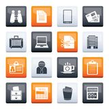 Business and office elements icons over color background. Vector icon set stock illustration