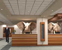 Business Office Elephants, Sales, Marketing Royalty Free Stock Photos