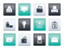 Business and office equipment icons over color background stock photos