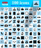 Business, Office & Finance icons set. Business, Office & Finance 100 icons set Stock Image