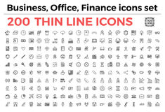 Business, office, finance theme icons set. The variety of thin line icons for business, office, finance theme vector illustration. Editable Stroke. 64x64 Pixel Stock Images