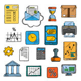 Business, office, financial symbols, sketch style Royalty Free Stock Image