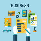 Business and office flat icons. With a central businessman completing a check list surrounded by analytical graphs, charts, calendar, hand stamp and tablet Stock Images