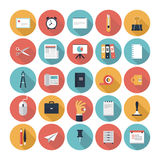Business and office flat icons set royalty free illustration
