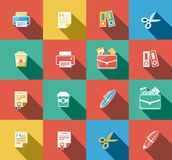 Business and Office Flat Icons Set Stock Photography