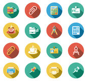 Business and Office Flat Icons Set. Business and office objects flat icons set Stock Photos