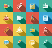Business and Office Flat Icons Set. Business and office objects flat icons set Stock Image