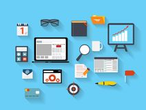 Business and Office Flat Icons Vector Ilustration stock illustration