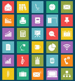 Business and office Flat icons for Web and Mobile. Apps. Can be used as elements in infographics, logo templates. Laptop, wifi, mail, data. Retro grunge design Royalty Free Stock Photos