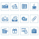 Business and Office icon I. A set of web icons with light reflections Royalty Free Stock Image