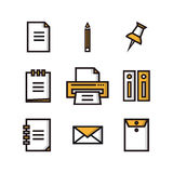 Business and office icon set. Flat icons big set of business and marketing objects office and working equipment communication and technology items Stock Images