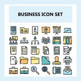 30 Business and Office Icon Set, New style in Filled Unconnected Outline style stock illustration