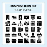 30 Business and Office Icon Set, using Solid or Glyph style royalty free illustration