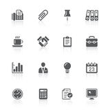 Business & office icons. Black business office icons with reflections Royalty Free Stock Photography