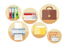 Business and office icons. In flat design style isolated on white background Royalty Free Stock Images