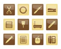 Business and Office icons over brown background. Vector icon set stock illustration