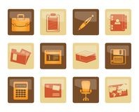 Business and office icons over brown background. Vector icon set royalty free illustration