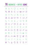 Business and office icons in purple and green Royalty Free Stock Photos
