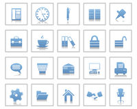 Business and office icons set. Business and office set of different vector web icons Stock Image