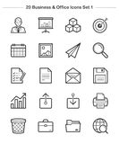 Business & Office icons set 1, Line Thickness icons Stock Images
