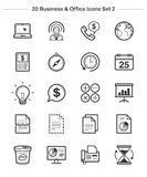 Business & Office icons set 2, Line Thickness icons. An illustration set for your web page, presentation, & design products Royalty Free Stock Photos