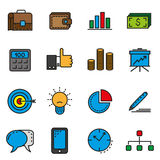 Business office icons. Set of icons in the linear style of business theme Stock Images